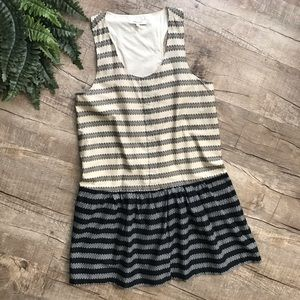 Madewell Cream & Black Striped Dress